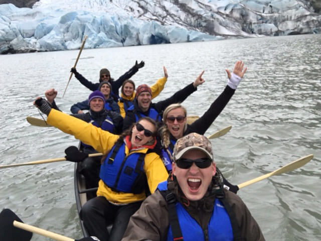 Happy group near Mendenhall Glacier