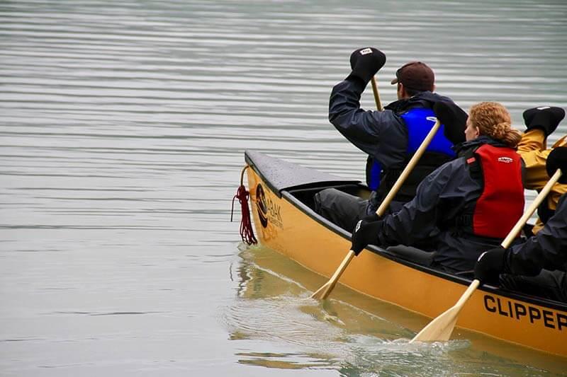 paddling canoe near Mendenhall Glacier
