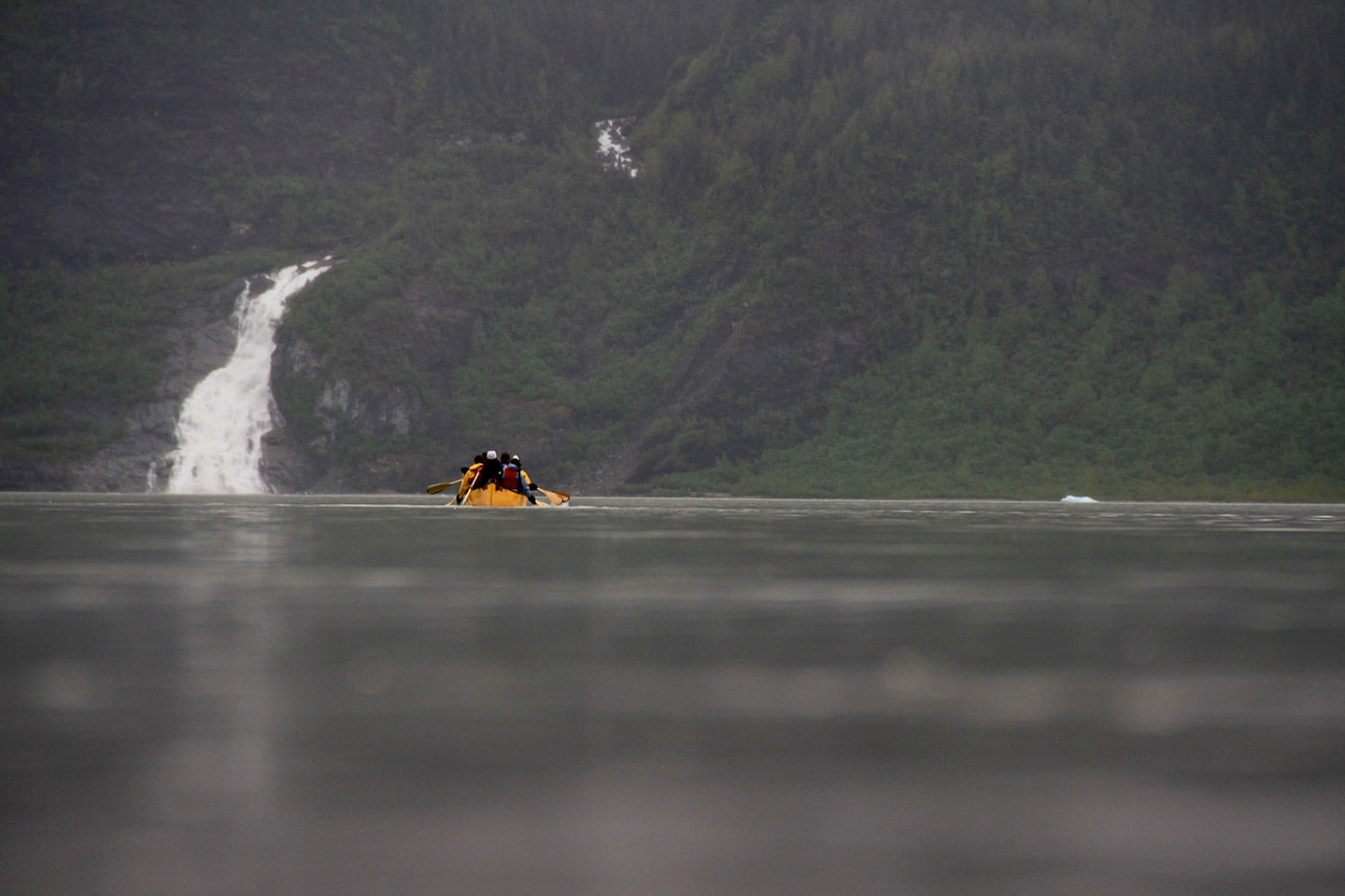 Mendenhall Glacier paddle near waterfall