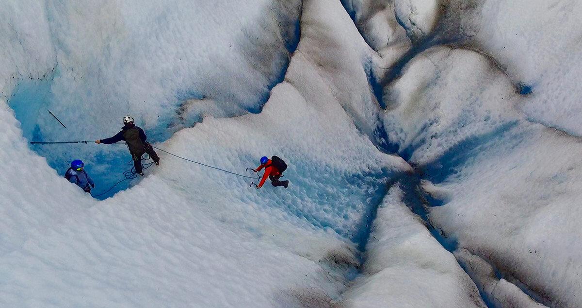 Mendenhall Glacier ice climbing drone
