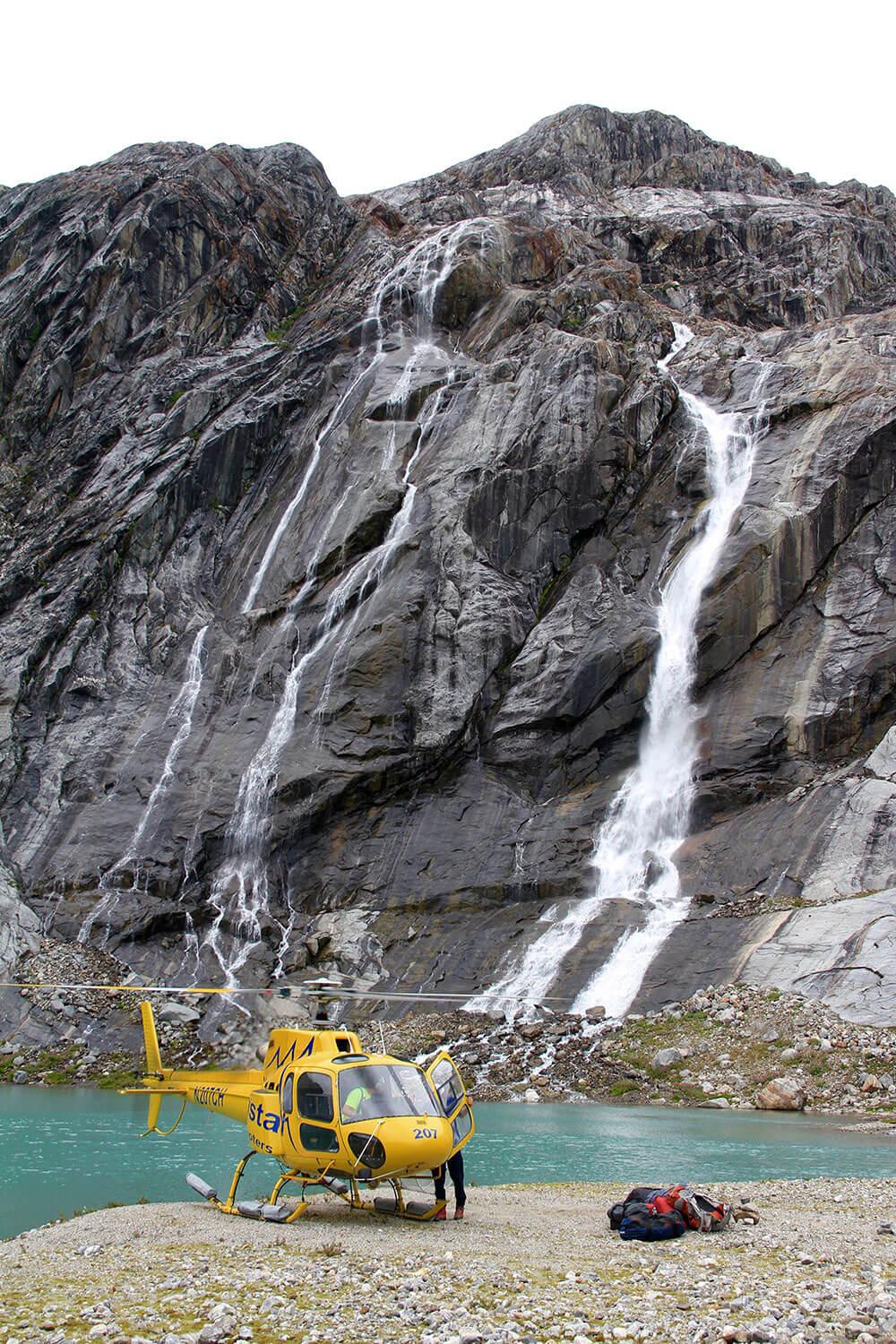 Helicopter base camp waterfall