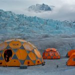 Helicopter glacier tents